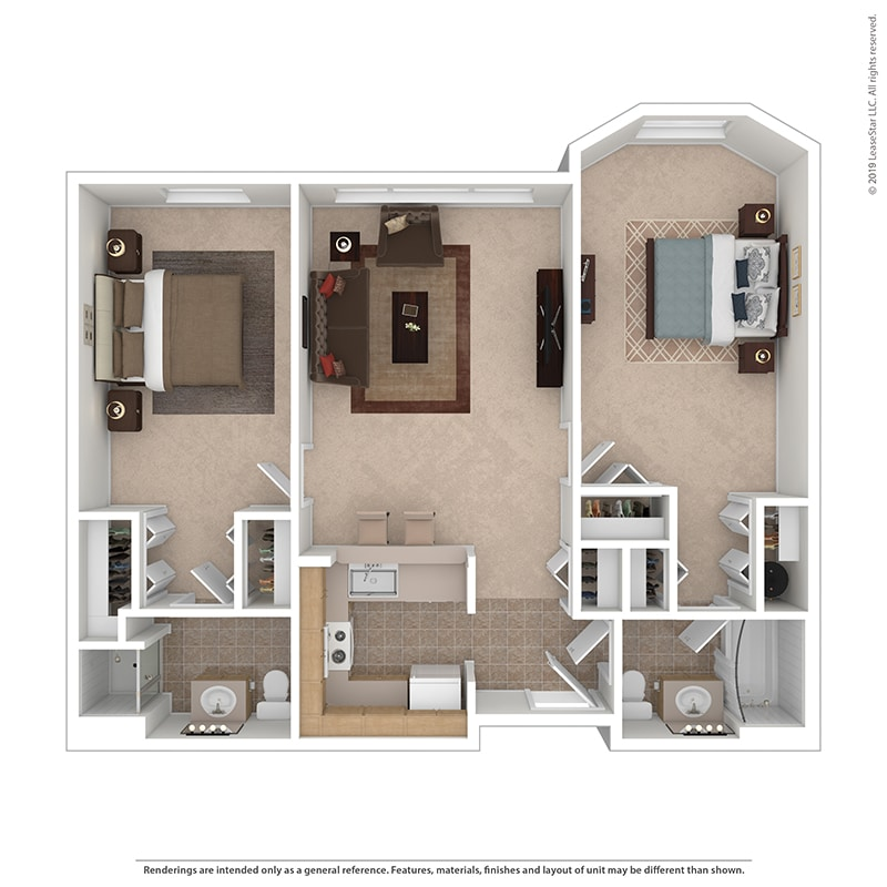 The Willow - Two Bedrooms | Two Bathrooms - 800-895 Sq. Ft.